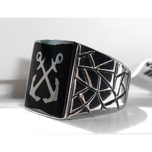 Other - STAINLESS STEEL Men's Epoxy Anchor Nautical Ring